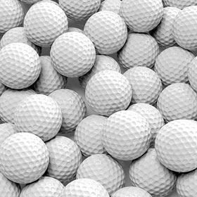 three-dimensional pile of golf balls