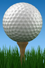 golf ball and golf tee on green grass